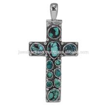 Tibetan Turquoise Gemstone 925 Sterling Silver Pendant Jewelry