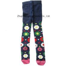 Heißer Verkauf gestrickte Mädchen Baumwollstrumpfhose mit Mode-Designs aus Baumwolle hergestellt