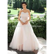 NA1023 Chic simples de uma linha Sweetheart Capela Trem Pink Organza Designer Wedding Dress