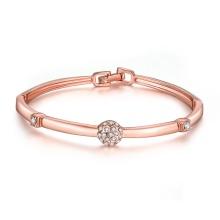 Einfache Design 18k Rose Gold Frauen Bangle Diamond Inset Armreif