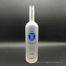 Super Flint Clear Glass Cork Top 750ml Frascos de Vodka Frosted para Licor, Vino