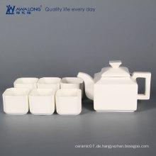 China Awalong nach Maß klassischen eleganten weißen quadratischen Knochen Porzellan Teekanne Tee Tasse Untertasse gesetzt