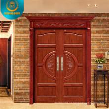 Puerta de madera doble estilo europeo con talla (DS-9010)