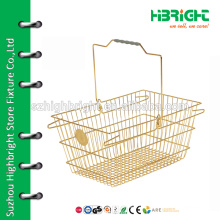 convenient supermarket plastic and metal shoping basket