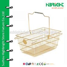 convenient supermarket plastic and metal shoping basket