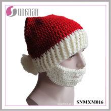 2015 criativo chapéu de crochê mão-tricô chapéu de barba papai noel (snmxm016)