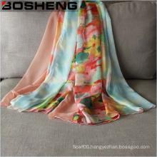 Lady Fashionable Chiffon Printed Silk Long Soft Scarf