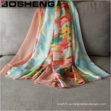Señora moda gasa impreso seda larga bufanda suave