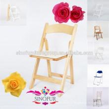 Chaise pliante en bois matelassée naturelle