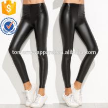 Черный эластичный пояс PU тонкий Леггинсы OEM и ODM Производство Оптовая продажа женской одежды (TA7039L)