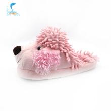 Chinelos de pelúcia rosa de inverno para cães infantis