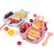 Kids Feeding Set Baby Silicone Suction Plate Divided Food Grade Silicone Baby Plate Set Silicon