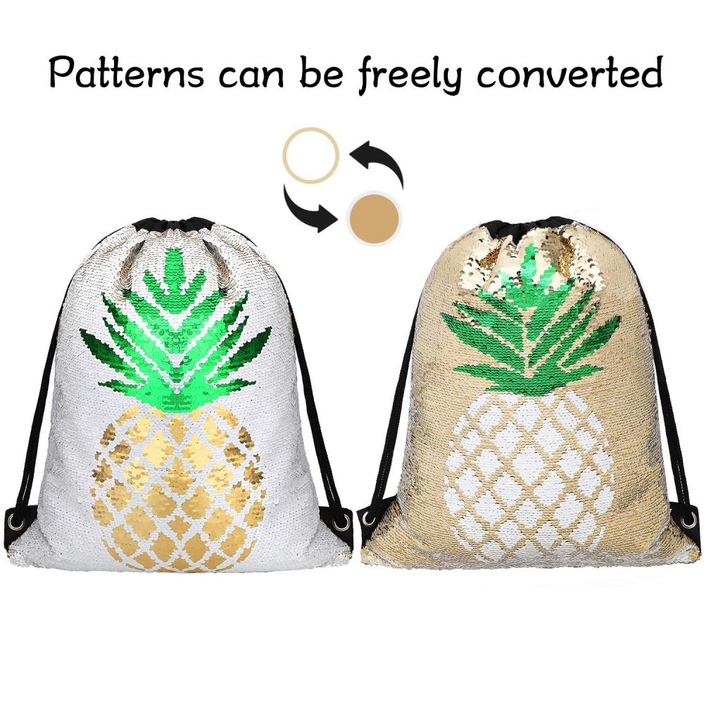 Pineapple Reversible Sequin Drawstring Bag 1