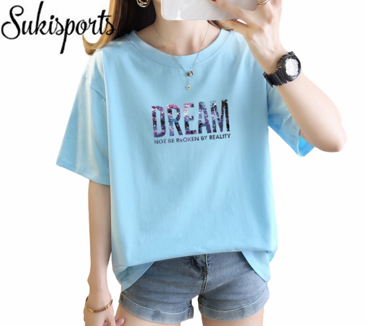 Womens Cute Printed Short Sleeved Cotton T Shirt 4