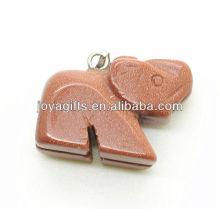 Alta qualidade natural pedra vermelha pingente de elefante pingente de pedra preciosa semi