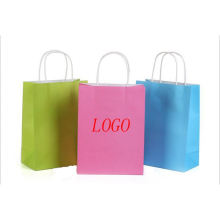 Low MOQ Accept Customized Brand Logo Grocery Colored Kraft White Paper Bag With Paper Handle
