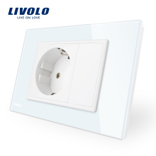 Livolo Smart Home Panneau de verre blanc / noir UE Prise de courant VL-C9C1EU-11/12