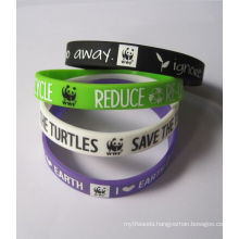 Silk Screen Printed Logo Silicone Wristband for Ad Activity