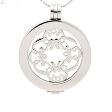 Ladies design plate silver coin locket,coin holder pendant with plate