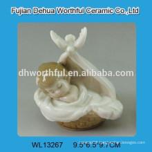 Cutely bassinet baby design white ceramic decoration