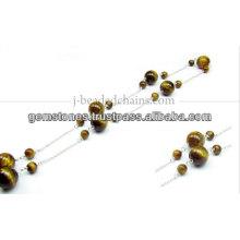 Rare Small Round Gemstone Beaded Chain, Wholesale Gemstone Bezel Jewelry Manufacturer