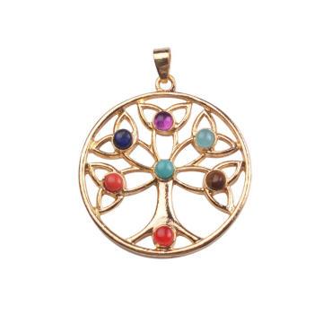 Árbol de acero inoxidable de encanto Chakra colgante para Navidad