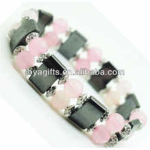 Magnetisches Hämatit Space Armband mit Legierung und 8MM Rose Quarz Runde Perlen