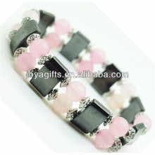 Bracelete magnético do espaço do hematita com liga e 8MM grânulos redondos do quartzo de Rosa