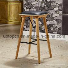 Leisure Ash Solid Wood Bar Stool with PU Leather Upholstery (SP-HBC248)