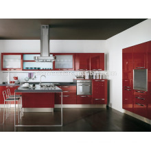 Advanced Germany machines factory directly red lacquer kitchen furniture