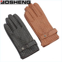 Unisex Winter Warm Hand Braided Weave Pattern Synthetic Leather Gloves