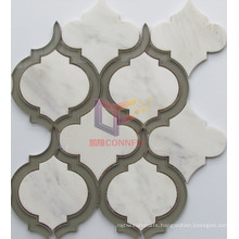 Marble Mix Glass Water Jet Mosaic Tiles (CFW68)