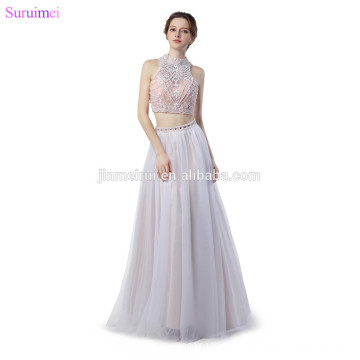 New Arrival Crop Top Two Pieces Evening Dresses O Neck Beaded with Pearls See Through Sexy Eveing Gown