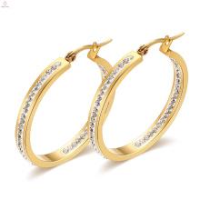 Goldüberzug-Edelstahl-Kristallohrringe, Art- und Weiseentwirft 316L-Stahlrahmen-Kristall-Ohrring
