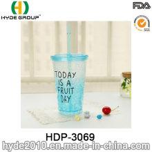 16oz BPA Free copo de suco de limão plástico com palha (HDP-3069)