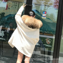 Direct factory price wholesale real fur parka woman