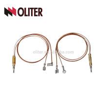 La fibra de vidrio del clip de la fábrica del oliter aisla el termopar del gas de las piezas de cobre con el enchufe amarillo usado en horno del vacío