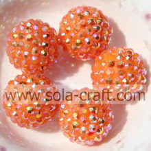 18 * 20MM glanzend oranje AB Diamond Rhinestone losse harsparels