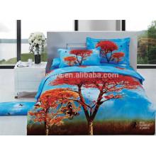 Colorido 3D Designs 100% Algodão tecido Bed Cover Set Feito na China