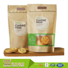 Best Quality Custom Cheap High Barrier Waffle Biscuit Stand up Food Packaging Kraft Paper Bag with Window