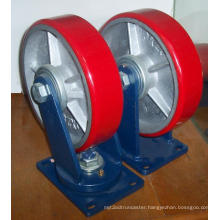 """12"""" PU on Cast Iron Caster - Red"""