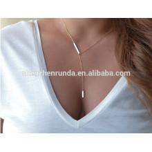 Nuevos productos calientes para 2015 lateral martillado vertical barra encanto collar infinito colgante collar de joyería de moda