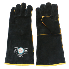Black Cowhide Heat Resistant Hand Protective Welding Gloves with Ce