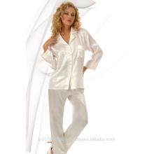 2017 sexy diseño especial satinado mujeres pijamas