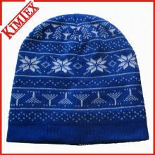 Inverno malha jacquard chapéu cap beanie