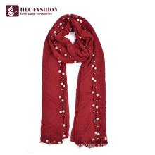 HEC feito no lenço vermelho elegante feito sob encomenda do xaile de China com logotipo