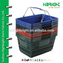 stackable plastic shopping basket with metal handle