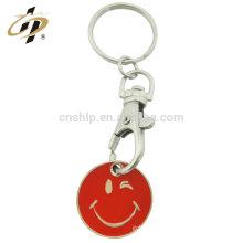 2017 ans nouveau métal personnalisé sourire heureux chariot jeton emoji porte-clés porte-monnaie pour faire du shopping