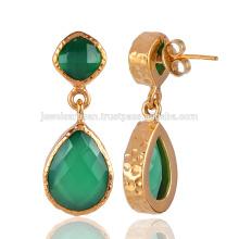 Зеленый Оникс и желтое золото покрытием моды серьги