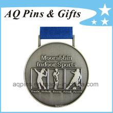 Medalhas de esportes por atacado com chapeamento de prata antigo